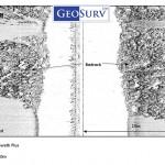 Geoswath plus backscatter image showing bedrock and sand